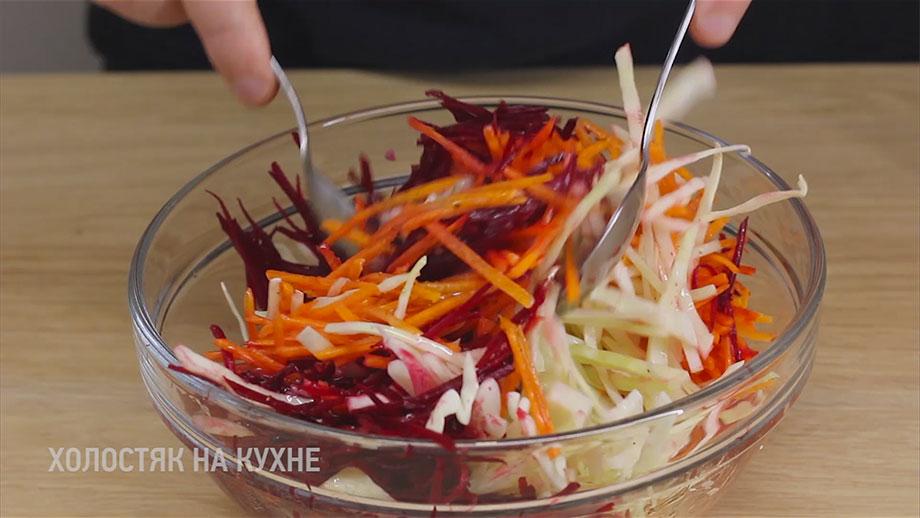 перемешивание салата